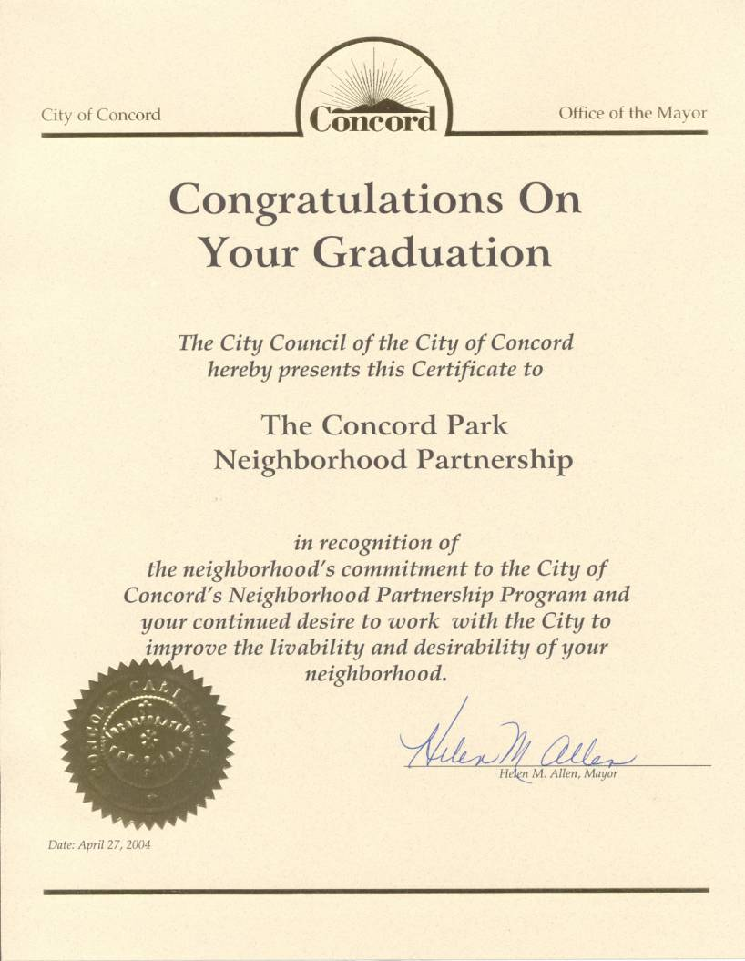 Graduation certificate city of concord office of the mayor congratulations on your graduation the city council of the xflitez Images